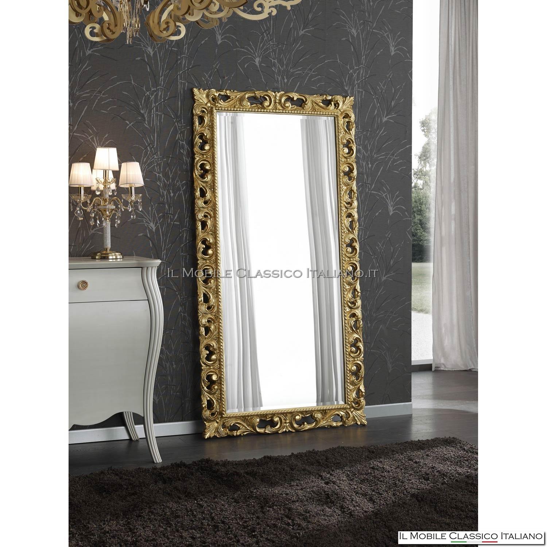 Specchio con cornice barocca artigianale con intarsi in legno - Specchio da terra economico ...